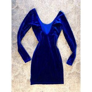 Royal Blue Velvet Tight Mini Dress